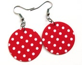 Red Polka Dots Fabric Decoupage Earrings MIDI Textile Jewelry