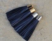 Navy Leather TASSEL in  16mm Gold, Silver, Antique Silver or Antique Brass Plated Cap- Pick your tassel cap