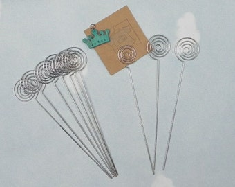 10-Pcs Swirl Shaped Wire Memo Holder Clip(Large-Long), Sign Holder, Escort Card Display, Namecard Holder, Pick