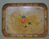 1940s shabby small paper mache yellow tray with flowers
