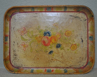 1940s vintage antique shabby small paper mache yellow tray with flowers