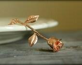 Long Stemmed Rose Necklace in Rose Gold