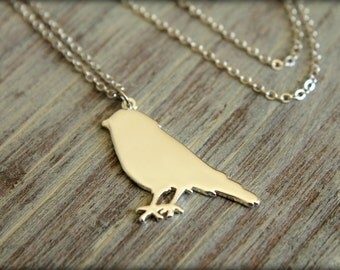 Bird Silhouette Necklace, Available in Silver or Gold