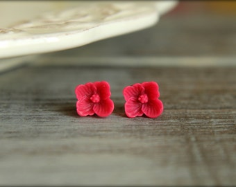 Tiny Sakura Blossom Flower Earring Studs, Multiple Colors Available