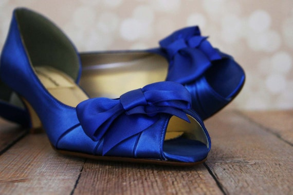 Wedding Shoes Royal Blue Peep Toe Kitten Heel With Off Center Matching Bow On The