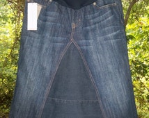 Maternity Jean Skirt, Women's Modest Fashion Jean Skirt - Knee Length - Custom Made From Maternity Jeans