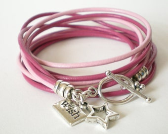 pink  leather wrap bracelet, wish upon a star cuff, friendship bracelet, rocker style, stacking bracelet, gift for her