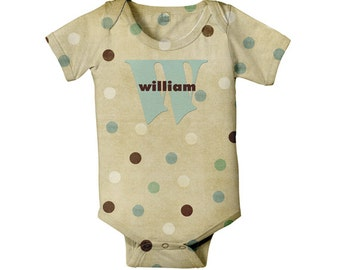 Baby Bodysuit Polka Dot Personalized Monogram Gender Neutral Boy Girl Infant One Piece Snapsuit