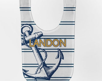 Boy's Anchor Baby Bib, Personalized Nautical Baby Bib, Baby Boy Bib, Custom Infant Bibs