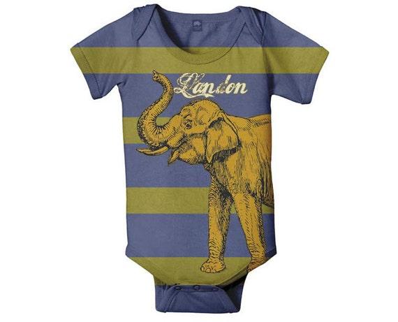 Golden Elephant Bodysuit, Boy's Personalized Baby, Infant One Piece, Custom Baby Boy Onepiece Clothing
