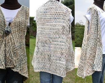 Hand knit Vest / hand woven Vest / Long cotton ivory and light blue Hand Woven Vest Women / top vest