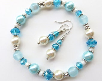 PEARL SKY- Beaded Stretch Bracelet and Earrings Set- Gorgeous Crystals, Soft Pearls and Cat's Eye Beads