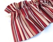 """RED Valance Curtain Red and Cream Stripes 43"""" Kitchen Curtain Kitchen Valance Curtains Kitchen Window Valance Red and Cream Valances"""