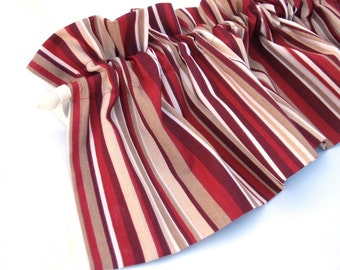 "RED Valance Curtain Red and Cream Stripes 43"" Kitchen Curtain Kitchen Valance Curtains Kitchen Window Valance Red and Cream Valances"