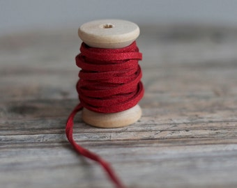 Metallic Faux Suede Cord in Red - 3mm x 1mm - 5 meters