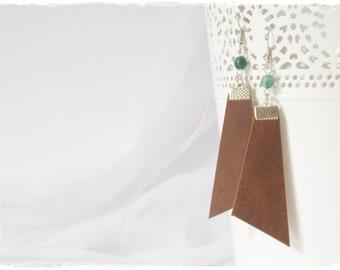 Tribal Leather Earrings, Boho Earrings, Long Tribe Earrings, Woodland Earrings, Elven LARP Earrings, Green Agate Jewelry, Tribe Long Earrins