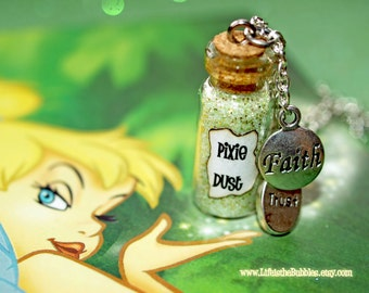 Pixie Dust Magical Necklace Faith and Trust Charms, Tinkerbell Pixie Dust, Tinkerbell Cosplay, Disney Bound, Peter Pan, Once Upon a Time