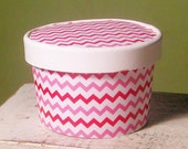 72 Color Choices - Chevron Ice Cream Cup , Soup, Favor Cup with Lids - Set of 12