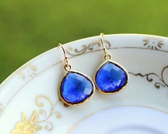 Large Blue Cobalt Earrings Gold Pendant - Cobalt Blue Wedding Earrings - Bridal Earrings - Bridesmaid Earrings - Bridesmaid Jewelry Wedding