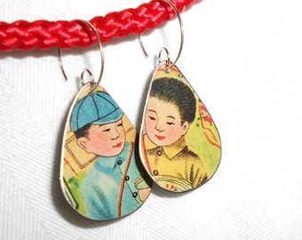 SALE Asian Tin Earrings, Chinese Boy Teardrops, Recycled Tin Earrings ala Mao's Children, perhaps, and Eco Friendly Recycled Ear Art