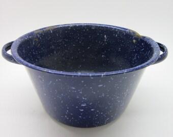 Vintage Navy Blue Graniteware Pot Enamelware houseware planter granite vase