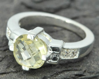 lemon quartz ring, lemon citrine ring, sterling silver ring, yellow rose cut, gemstone ring, one of a kind, quartz, yellow