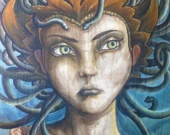 "Beautiful Medusa the Gorgon, GICLE PRINT  12""x24"""