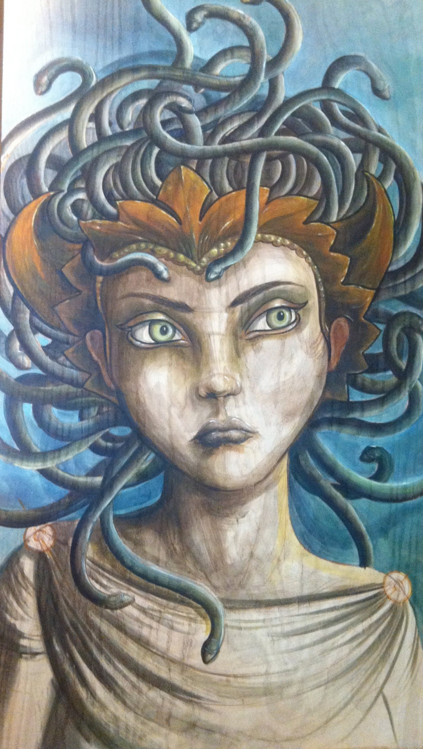 Beautiful Medusa the Gorgon GICLE PRINT 12x24