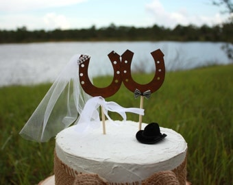 Western wedding cake topper-horse shoe-rustic wedding-wedding cake topper-rustic-western wedding-western bride- horse -cake topper