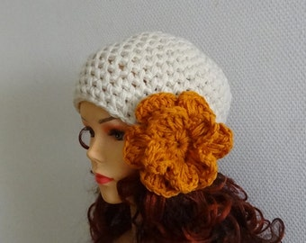 Women's crochet  hat with crochet flower / womens cloche hats Womens hat Big Flower Crochet  Womens Hat Winter Accessories Autumn Fashion