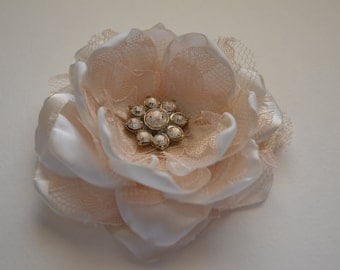 Hair Clip - Cream and Champagne Flower Clip - Fabric Flower, Hair Bow, Bridal Hair, Bride, Bridesmaid, Flowergirl