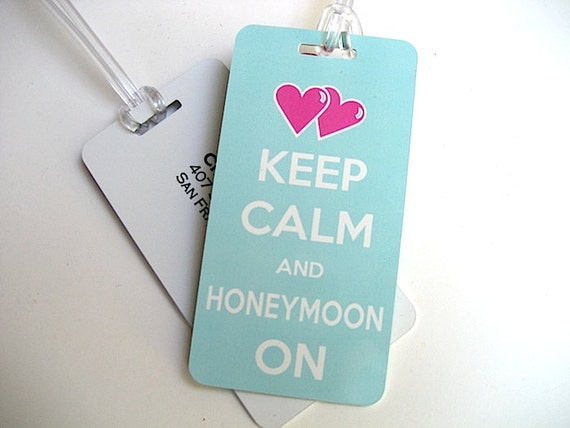 Luggage Tag - Honeymoon Luggage Tags-  Keep Calm and Honeymoon On Luggage Tag Set