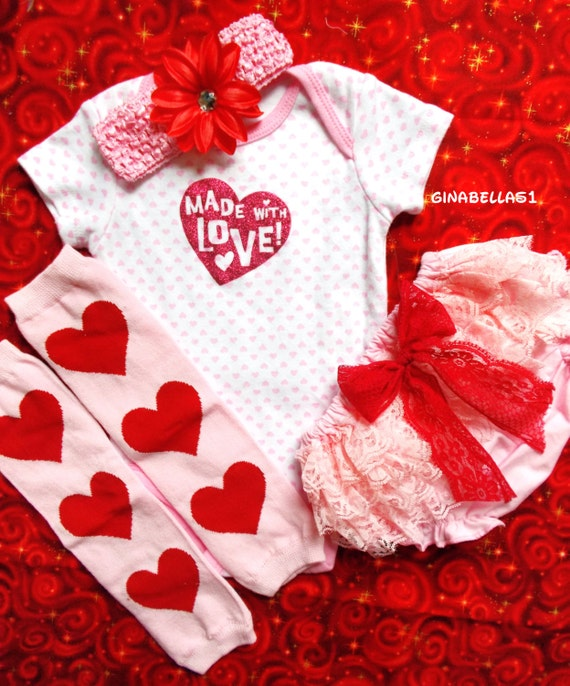 Valentines Day Baby Girl Onesie First Outfit Pink Love