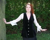 Legendary Ladies Pirate Long Waistcoat / Vest -  Velvet in Black or Purple- Sizes XS to XXXL