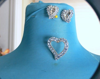 blue silver 925 heart brooch and clip earrings