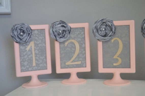 Pink and Charcal grey Table numbers-Modern Wedding Pink frames with Handmade rose and lace