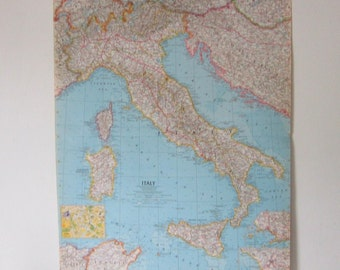 Vintage Map of Italy Midcentury Map Gift under 20 History Geography Home Decor Gift under 20