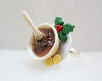 Christmas Pudding Mix Ring. Polymer Clay.