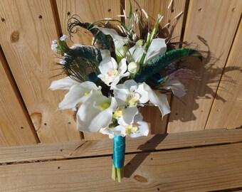 Calla lily orchid wedding set- Bridal bouquet, bridesmaids bouquets, boutonnieres, hair clips, corsages, choose your ribbon colors