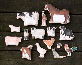 A Day at the Farm.  Printed Cloth Farm Animal Toy Set from AlyParrott on Etsy.