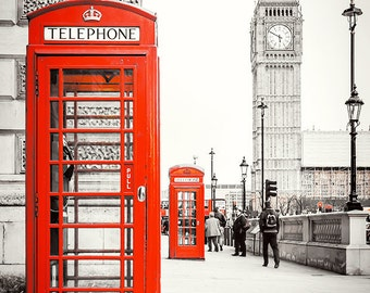 Photograph print - London Red Phone Booth, landscape architecture, travel photo, England Europe
