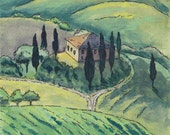 Italian Tuscany Home in Scenic Italy Countryside - Watercolor, Pen & Ink, Fine Art Painting