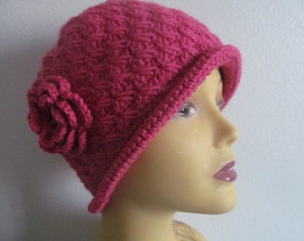 Rouge Cloche Hat With Flower