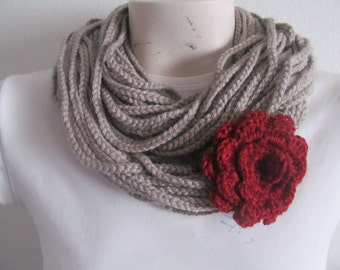 Beige Rope Chain Cowl Scarf Necklace With Burgundy Rose, Usa Seller