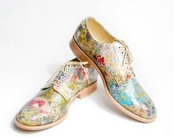 Impressionism flowered pattent leather oxford  - FREE WORLDWIDE SHIPPING