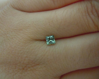 Genuine Montana Sapphire Green Princess Cut .53 carat 4 x 4 mm loose gemstone for Engagement or Jewelry