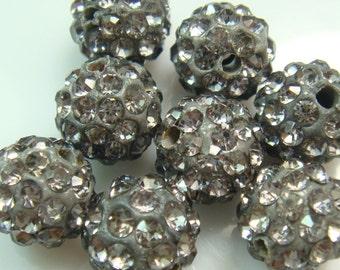 10 pcs 10mm Gray Color Swarovski Crystal Pave Disco Ball Spacer Charm Beads