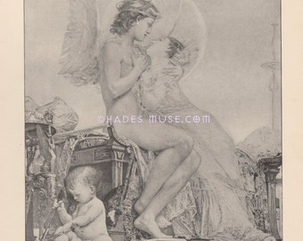 Immortal Lovers-Gods-1891 Antique Vintage TYPOGRAVURE-Cupid & Psyche-LOVE-Greek Mythology-Child-Baby-Worshipped Goddess
