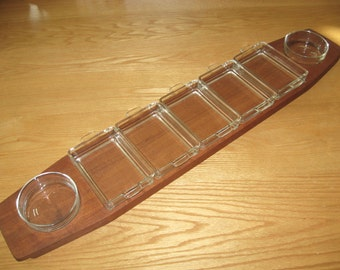 "RARE 31"" Long Laurids Lonborg Teak Wood Serving Tray w/ 7 Glass Relish Dishes - Vintage Signed Denmark"