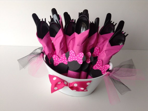 Minnie Mouse Birthday Party Cutlery, Pink polka dot wrapped utensils, party supplies, zebra , red polka dot